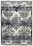 Studio Collection Vintage French Damask Design Contemporary Modern Area Rug Rugs 3 Different Color Options (Damask Ivory / Grey, 8 x 10)