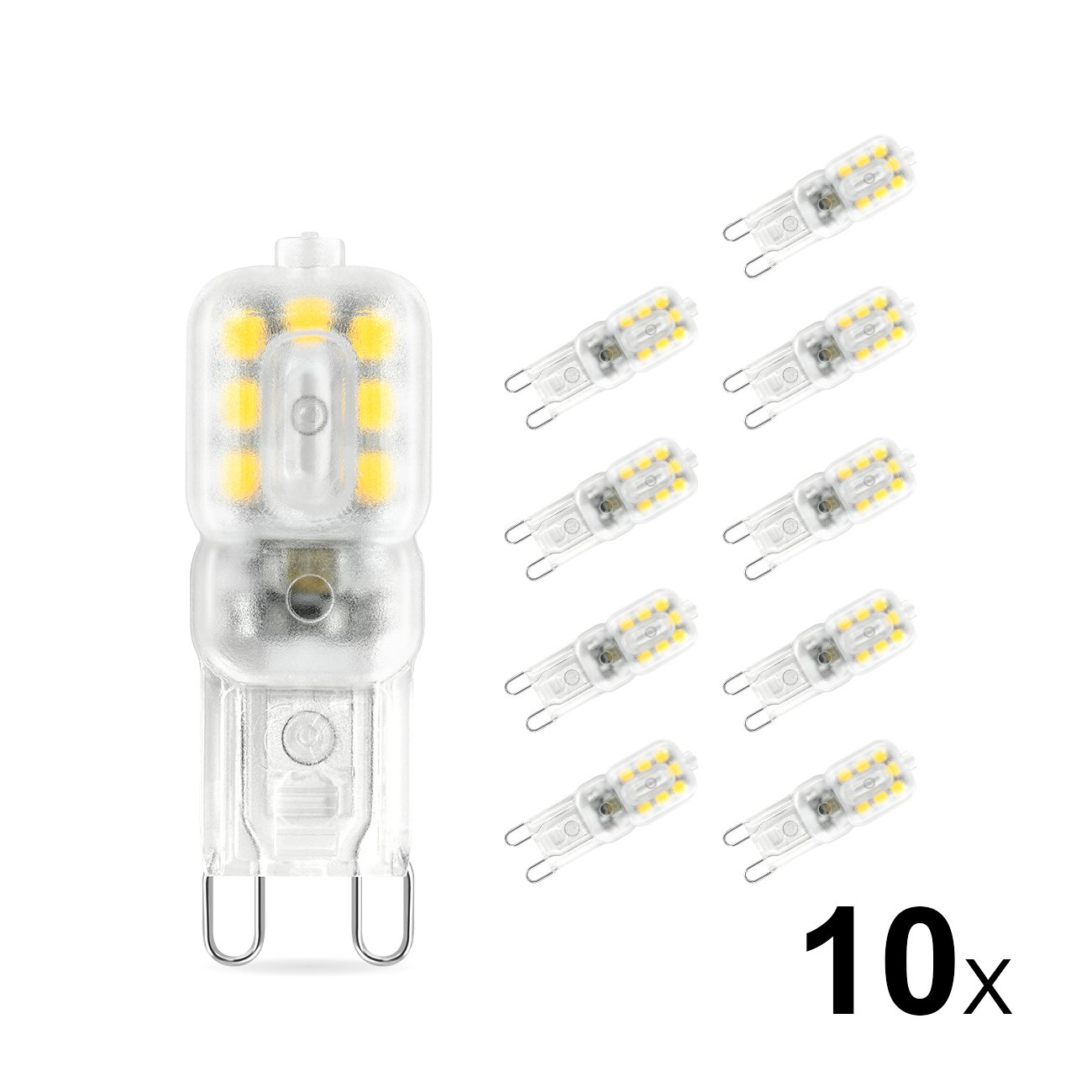 LVWIT Bombillas LED G9-3W equivalente a 10W, 220 lúmenes, Color blanco neutro 4000K, Sin efecto flash. No regulable - Pack de 10 Unidades.
