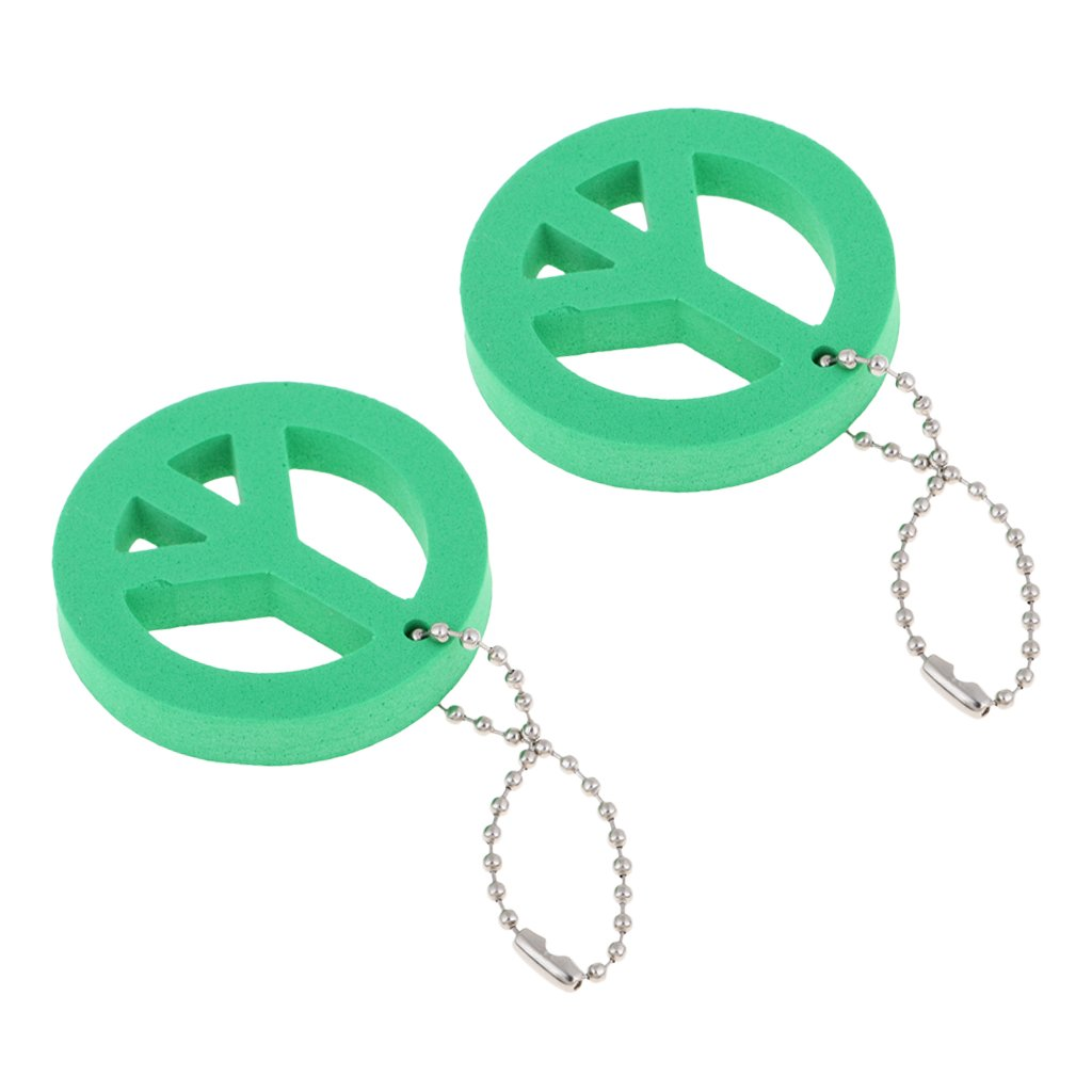 D DOLITY 2Pcs/Set Safety EVA Foam Floating Keychain Keyring for Kayak Sailing Surf Fishing - Small, Compact, Portable & Durable Green