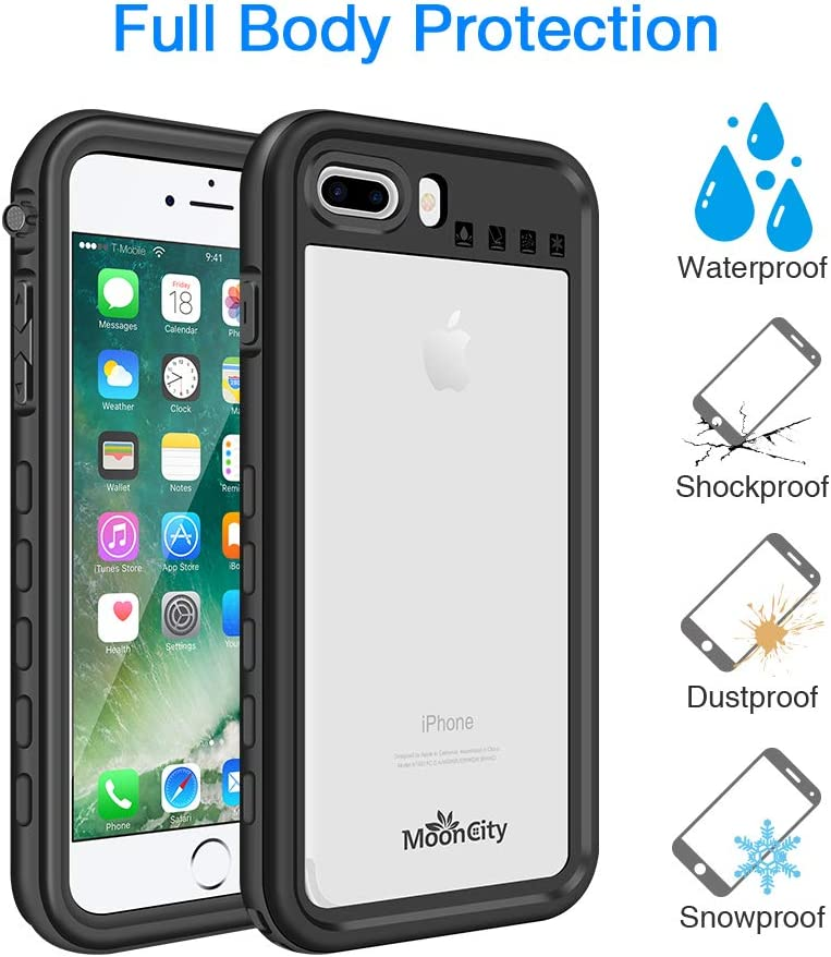 Mooncity Waterproof Case for iPhone 7 Plus/8 Plus, IP68 Waterproof Snowproof Shockproof and Dustproof Cover Case, Underwater Full Sealed Cover Case ...
