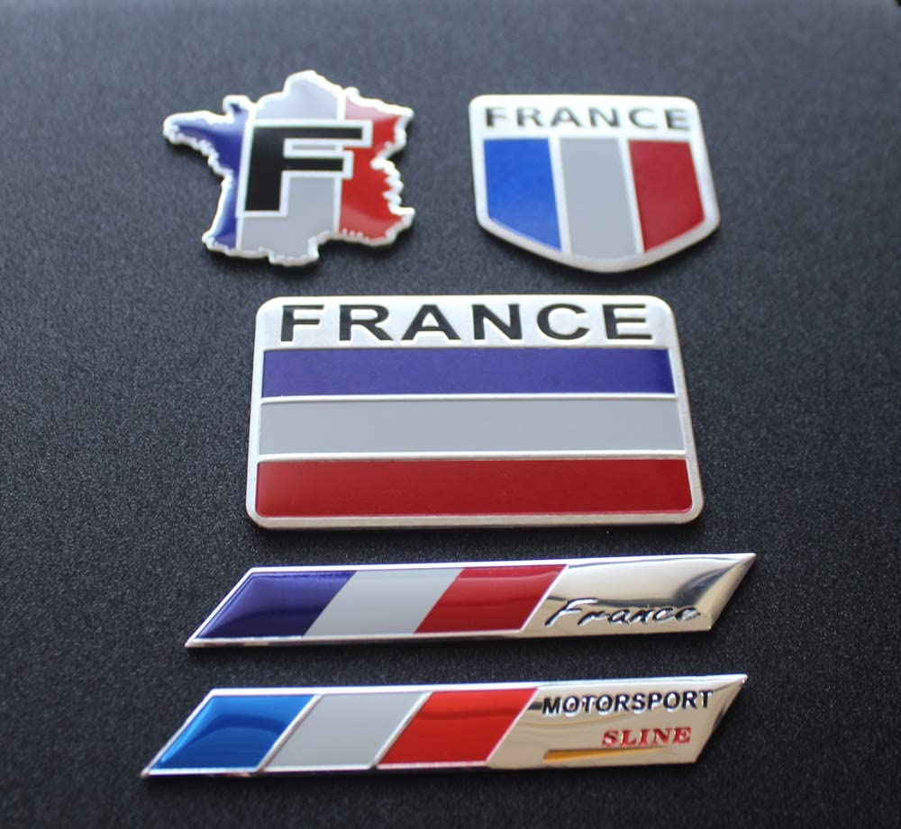 Scooter,SUV,Door Motorcycle window 5pcs France Flag Decal Sticker RV Truck Perfect for Any Vehicle car Emblem Made from Aluminum Alloy