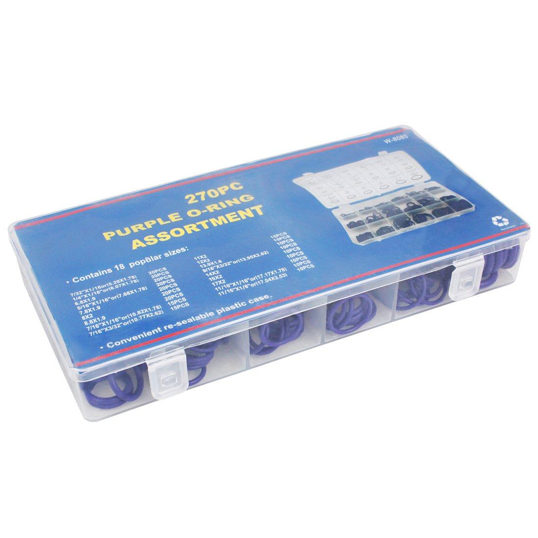 Gr/ün Larcele 18 Gr/ö/ßen Gummi-O-Ring-Sortiment kit Dichtungen f/ür Kfz-Klimaanlagen-Kompressor,270 St/ück QC-MFX01