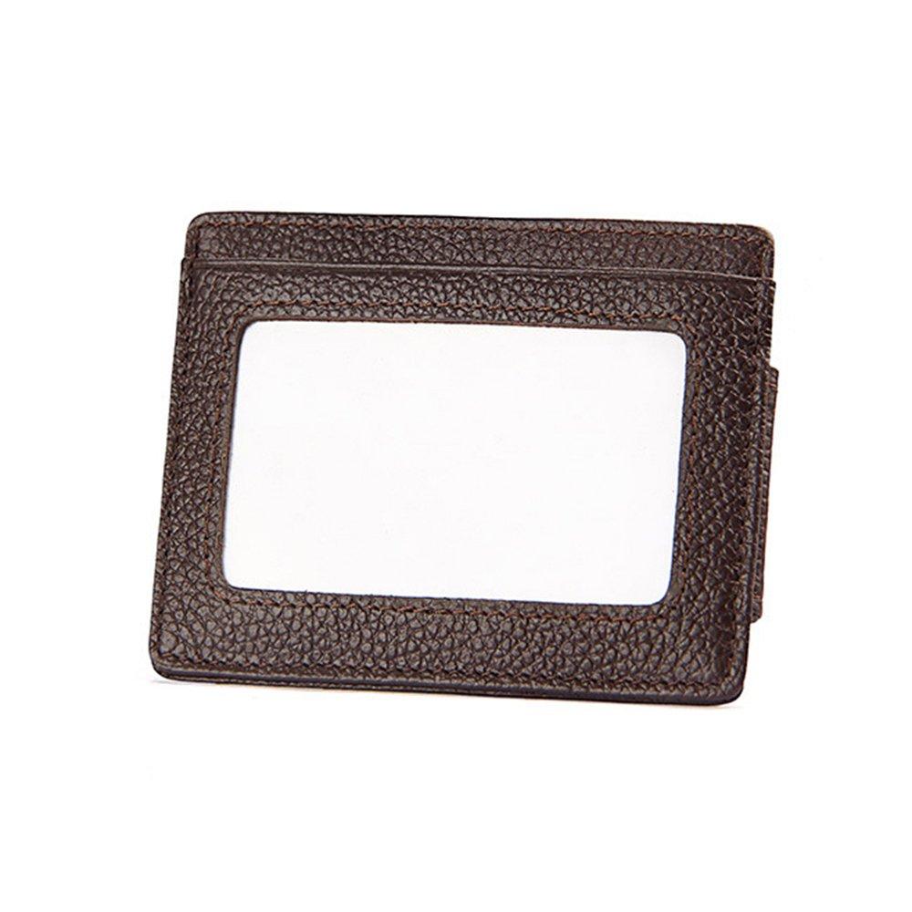 POMER RFID Blocking Genuine Leather Credit Card Case Holder Wallet with ID Window