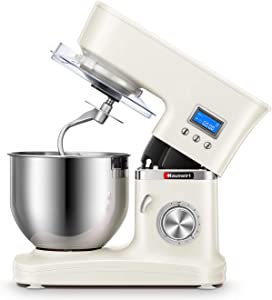 Hauswirt Stand Mixer, 3-IN-1 1000W Tilt-Head 5.3-Qt Electric Kitchen Tool with Digital Timer, 8 Speeds & Pulse, Planetary Mixing, Includes Slicer/Shredder, Stainless Steel Metal Dough Hook, Flat Beater, Wire Whip, Pouring Shield