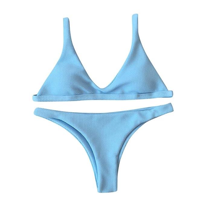 Bikini Damen Push Up,Hansee Frauen Mode Einfarbiger Badeanzug Gepolsterter  BH Niedrige Taille Badehose Bikini Set Elegant Swimsuit Bademode Baden: ...