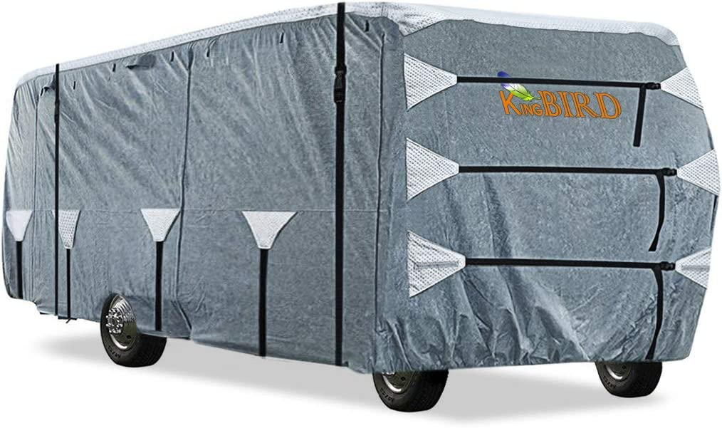 KING BIRD Upgraded Class A RV Cover, Extra-Thick 5 Layers Anti-UV Top Panel, Durable Camper Cover, Fits 33'- 37' Motorhome -Breathable, Water-Proof, Rip-Stop with 2Pcs Extra Straps & 4 Tire Cover