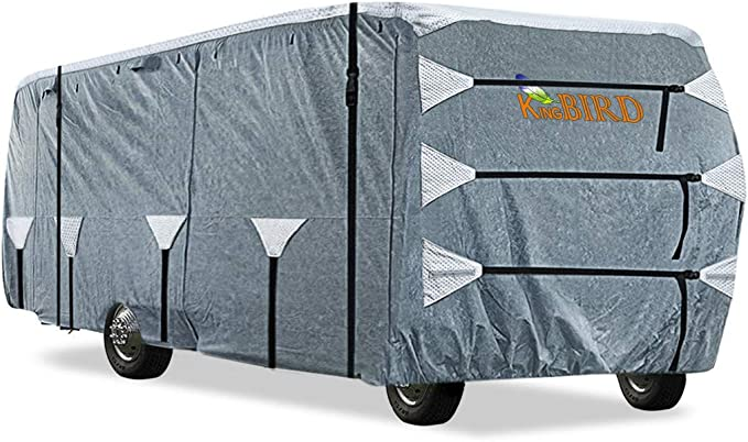 KING BIRD Upgraded Class A RV Cover, Extra-Thick 5 Layers Anti-UV Top Panel, Durable Camper Cover