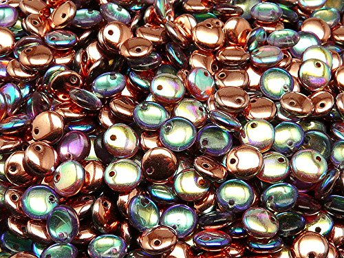 Rainbow Lentils - 50pcs Lentil Beads 6mm Czech Pressed Glass, Crystal Copper Rainbow