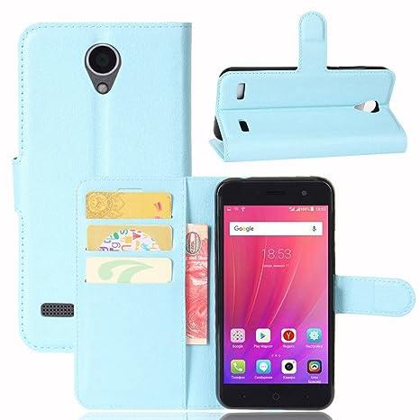 Guran® Funda de Cuero PU Para ZTE Blade A520 Smartphone Función de Soporte con Ranura para Tarjetas Flip Case Cover Caso-azul
