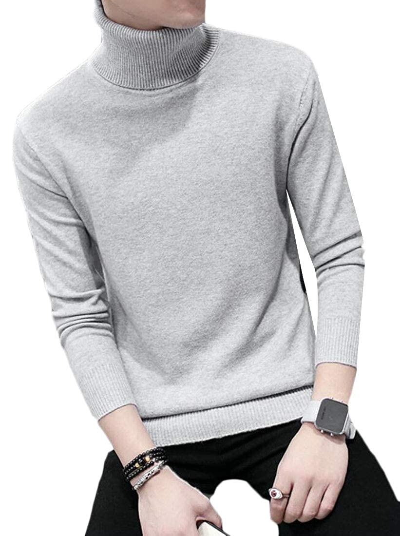 Qiangjinjiu Mens Knit Long Sleeve Solid Color Fashion Turtleneck Pullover Sweater