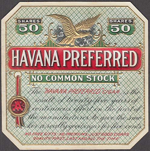 Havana Preferred Cigar box label embossed & gilt inks, unused