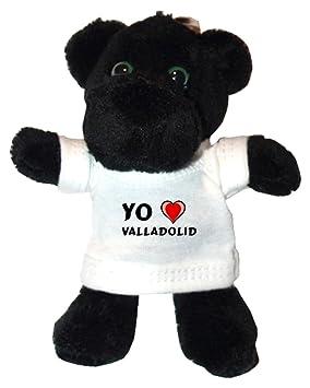 Pantera negro de peluche (llavero) con Amo Valladolid en la camiseta (ciudad /