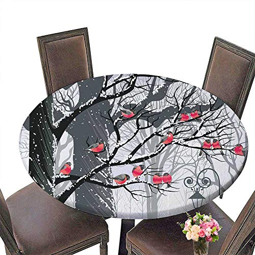 (PINAFORE Round Fitted Tablecloth Beach Pool Ap Ment CollectionBullfinches on Trees in Winter City Park Snow Cold Weather for All Occasions 35.5