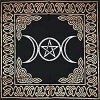 AzureGreen Altar Tarot Cloth Triple Goddess with Pentagram, 24-inch x 24-inch, Gold/Silver on Black Pentacle/Pentagram