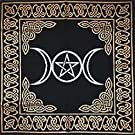 "Altar Tarot Cloth: Triple Goddess with Pentagram - 24"" x 24"" (Gold/Silver on Black Pentacle/Pentagram)"