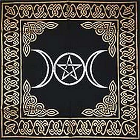 Altar Tarot Cloth: Triple Goddess With Pentagram   24u0026quot; X 24u0026quot; (Gold
