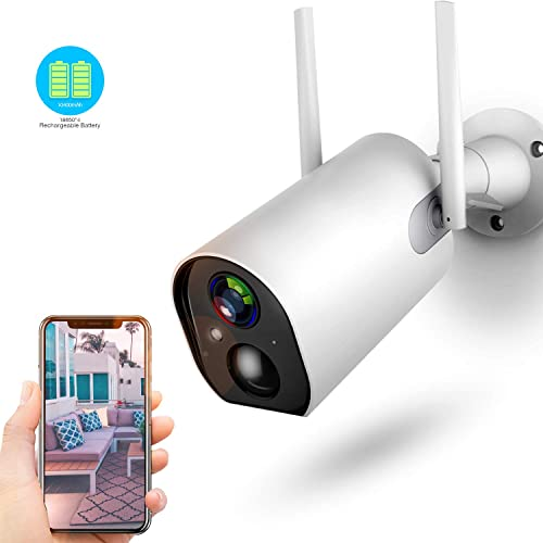 Wireless Outdoor Security Camera, 10400mAh Rechargeable Battery-Powered 1080P WiFi Camera, Motion Detection, 2-Way Audio, Night Vision, IP66 Waterproof, Cloud Storage SD Slot, 2.4G WiFi