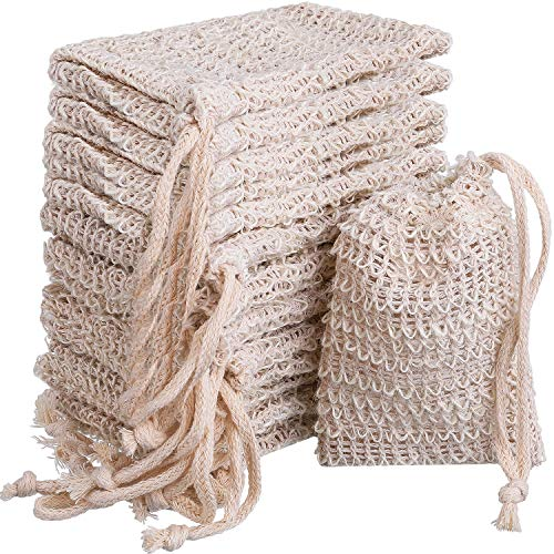 BBTO 15 Pack Soap Saver Exfoliating Natural Sisal Soap Bag Pouch ()