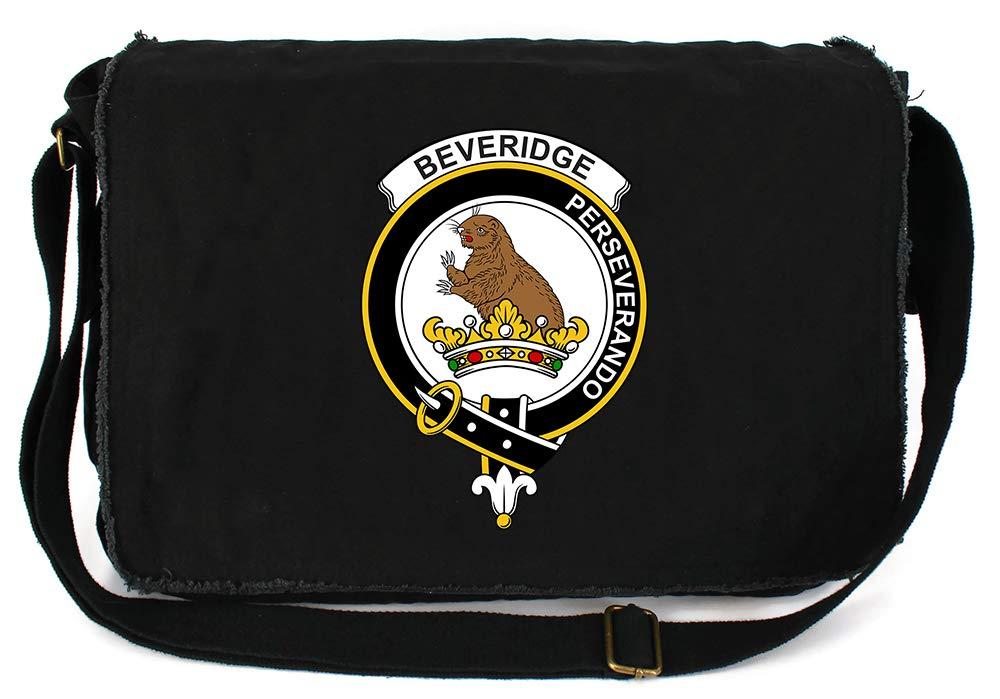 Tenacitee Scottish Clan Crest Badge Beveridge Flamingo Raw Edge Canvas Messenger Bag