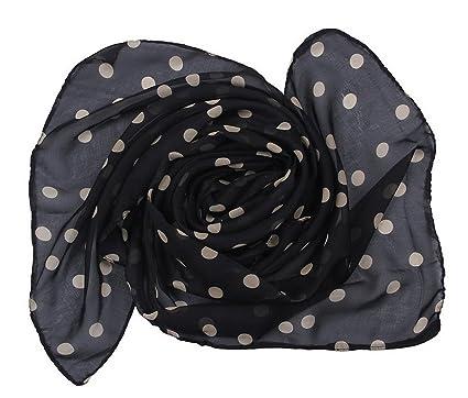 2d14613438 Bigood Foulard Femme Fille Mousseline de Soie Echarpe Automne Hiver Pois  Noir