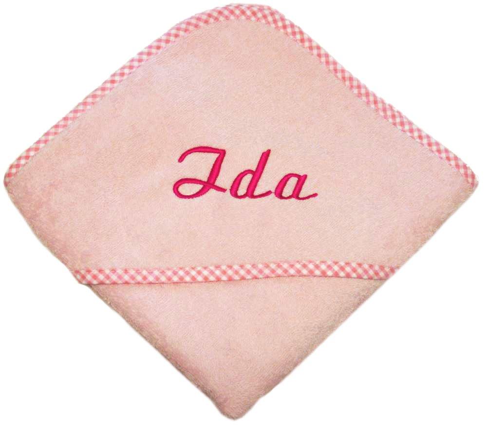 100/% BAUMWOLLE 80x80 cm, rosa 80x80cm my-mosaik Kapuzenbadetuch mit Ihrem Wunschnamen bestickt Das ideale Badetuch f/ür M/ädchen und Jungs