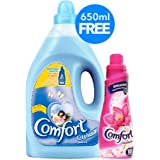 Comfort Fabric Softener Spring Dew + Comfort Concentrated Fabric Softener, 4 Litre + 650 ml