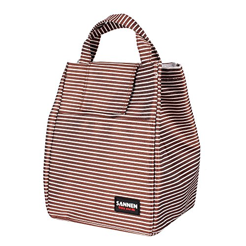 SANNE Lunch Bag Box Thermal lnsulated Tote Breastmilk Cooler Bag Holiday Gift Set for Women Girls Boy White Coffee Striped Leakproof Cooler Aluminum Film Pack Go Work Travel Picnic - Striped Cooler