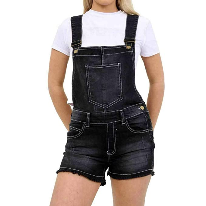 Vr7 Ladies Denim Jeans Dungaree Strappy Pinafore Playsuit Pants Shorts New Womens Dress Jumpsuit