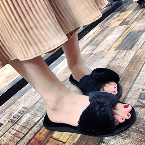 Bain Non Sport Casual Noir Et Chaussures De Curseurs De Sandales Soulier Beige Piscine Plage Fausse Femmes Fourrure Doux Taottao En Duveteuse 37 glissement Intérieurs Plat Flop De Flip La Extérieurs q87Agnx