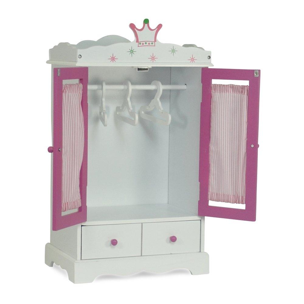 Wish Crown Doll and Small Pet Clothes Storage Doll Armoire 18 Doll 18 Clothes Wardrobe Fits 18 American Girl and My Life Doll Clothes 18 Inch Doll Closet for My Life Doll Clothes