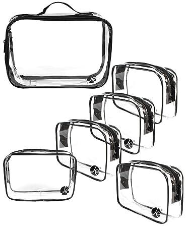 8b23d2a8d51f Amazon.com : JE 6 PCS SET Clear PVC Cosmetic Makeup Organizing Zipper Bag  (1 PACK) Large Size Bag w/Handle + (5 PACK) Small Size Bag : Beauty