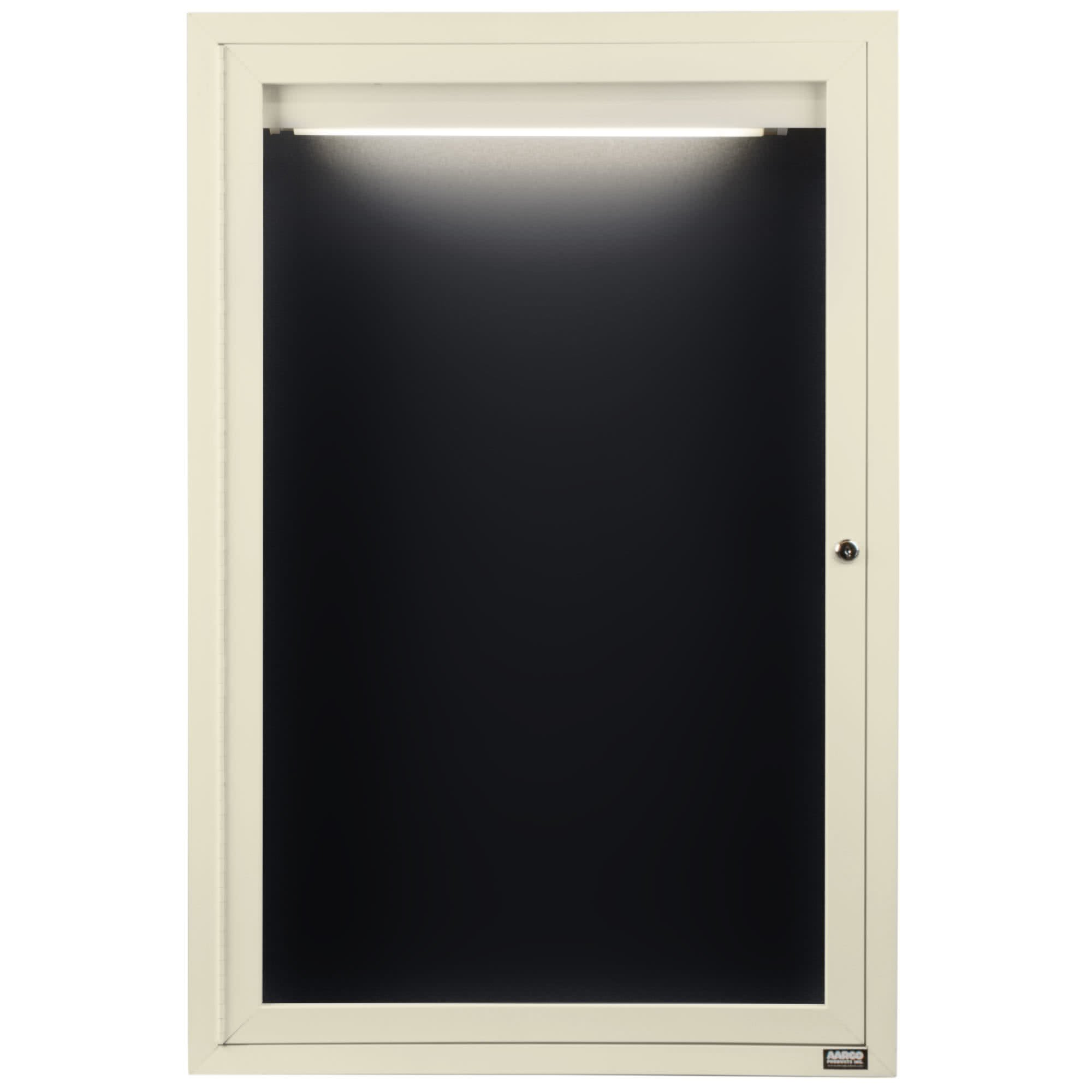 TableTop King ADC2418IIV 24'' x 18'' Enclosed Hinged Locking 1 Door Powder Coated Ivory Aluminum Indoor Lighted Message Center with Black Letter Board