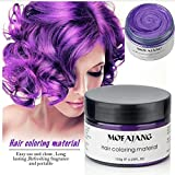 Bleaching Hair Everyday - Temporary Purple Hair Wax ,YHMWAX Fashion Colorful Hair Wax Pomades Disposable Natural Hair Strong Style Gel Cream Hair Dye,Instant Hairstyle Mud Cream for Party, Cosplay, Masquerade etc. (Purple)