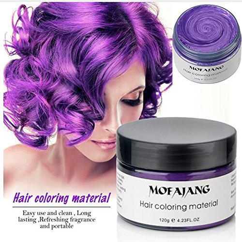 Temporary Purple Hair Wax,YHMWAX Fashion Colorful Hair Wax Pomades Disposable Natural Hair Strong Style Gel Cream Hair Dye,Instant Hairstyle Mud Cream for Party, Cosplay, Masquerade etc. (Purple) -