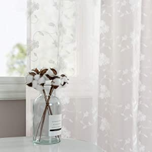 Floral Embroidery White Sheer Curtains for Living Room 95 inch Long Rustic Voile Window Curtain Drpaes for Bedroom Rod Pocket 2 Panels