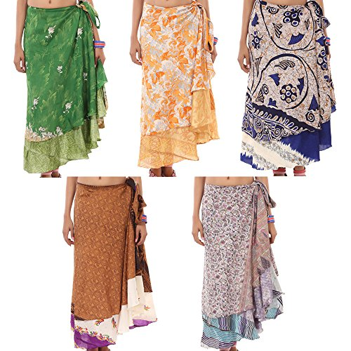 RAJRANG Wholesale Lot Indian 2 Layer Pareo Wrap Around Boho Skirt for Women Clothing Hippie Tie up Maxi Multi Color Long