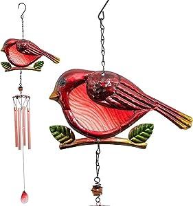 JOBOSI Red Bird Wind Chimes, Wind Chimes Outdoor, Garden Decor,Garden Gifts, Bird Wind Chimes, Yard Decoration