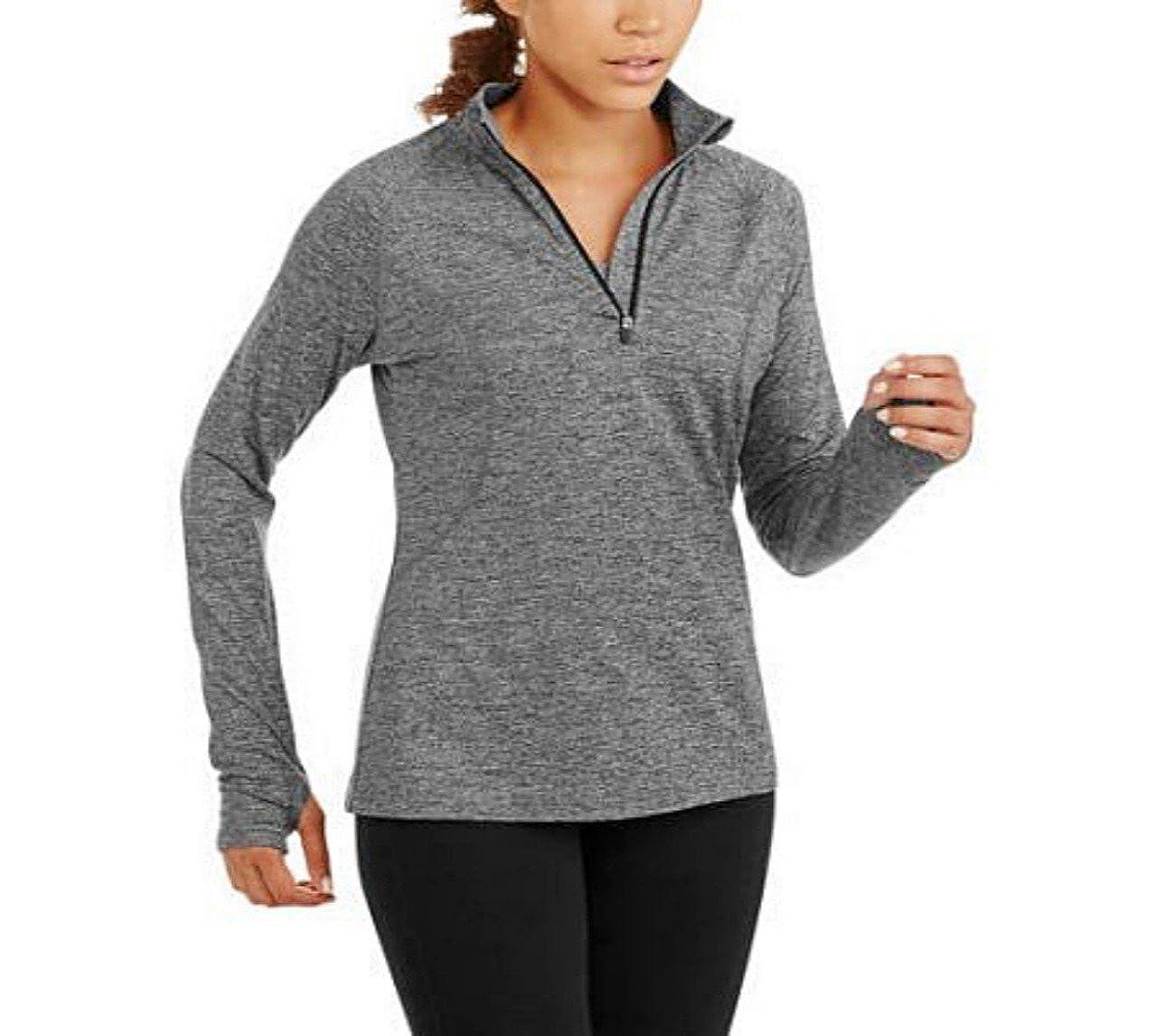 Danskin Now Women's Active Plus-size Mock Neck 1/4 Zip Athletic Running Jacket - Black Striated (1X)