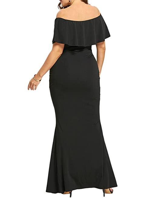 e4db7e263ad GAMISS Women s Sexy V Neck Ruffle Off Shoulder Evening Maxi Party Dress  Plus Size XL-5XL at Amazon Women s Clothing store