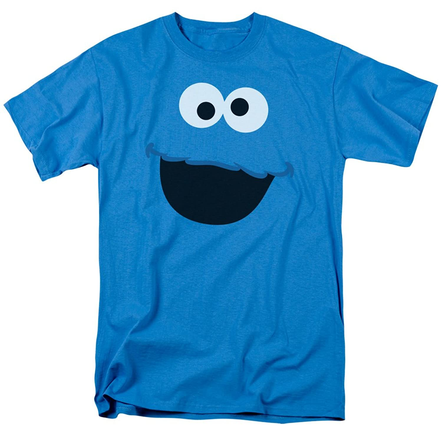 Sesame Street Kid's TV Show Cookie Monster Face Outline Adult T-Shirt Tee
