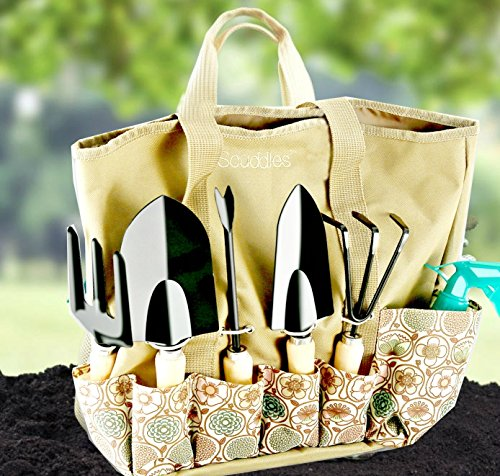 Scuddles-Heavy-Duty-Gardening-Tool-Set-Garden-Storage-Tote-Bag-Organizer-with-Wooden-Handle-Ergonomic-Hand-Digging-Stainless-Weeder-Rake-Shovel-Trowel-Spray-Glove-Kit-Gift-for-Man-Women-SC-GB-01