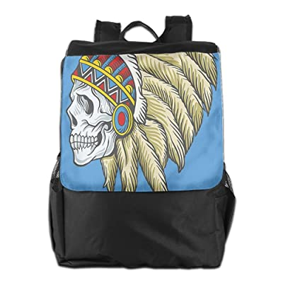 hot sale 2017 Newfood Ss Native American Dead Skull With Feathers Tattoo Folk Navajo Pattern Outdoor Travel Backpack Bag For Men And Women