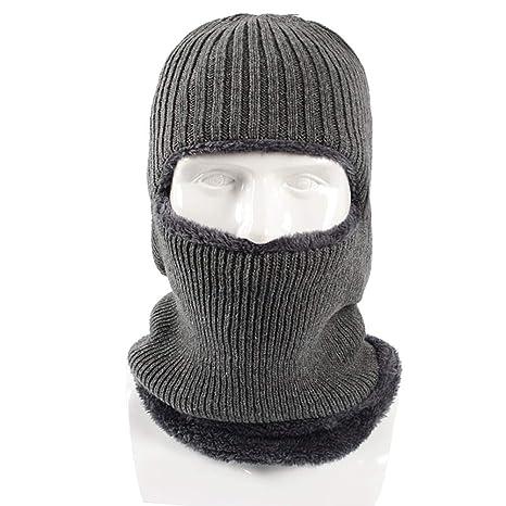 Ssowun Cappello di Lana Passamontagna in Maglia Invernale Unisex Cappello  Caldo Spesso Anti-Freddo 82cb5636e3d0