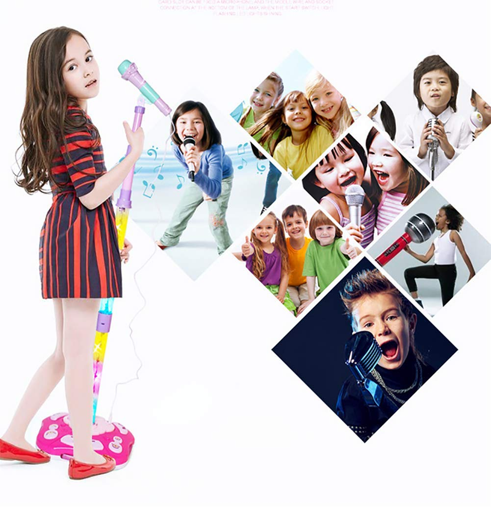 GHDE& Kids Karaoke Machine Microphone Toy with Adjustable Stand & Flashing Lights/USB Charging/Best Gift for Your Kids on Birthday (Pink) by GHDE& (Image #6)