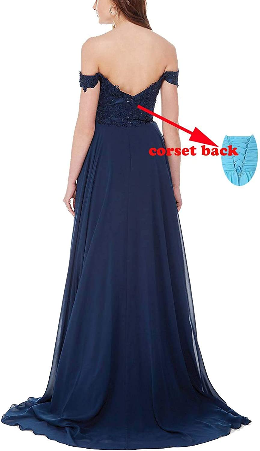 Lovely Romana Womens Off The Shoulder Chiffon Ball Gown Sweetheart Beaded Lace Formal Dress