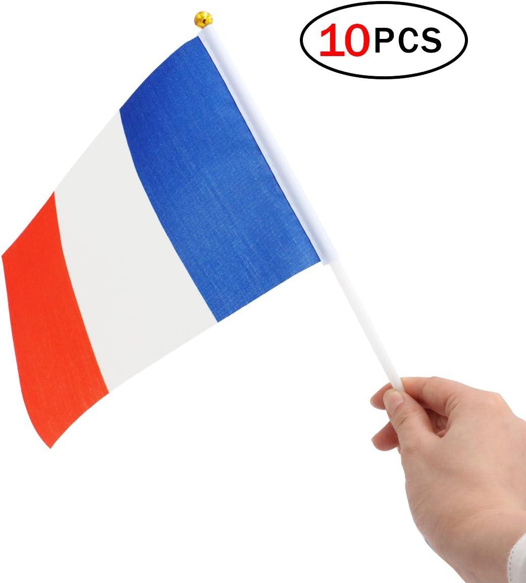 Banderas Pequeñas,Banderas de Mano,Bandera de Francés con 14 x 21 CM Juego de 10 PCS Mini Bandera Nacional Mini Bandera Francia: Amazon.es: Deportes y aire libre