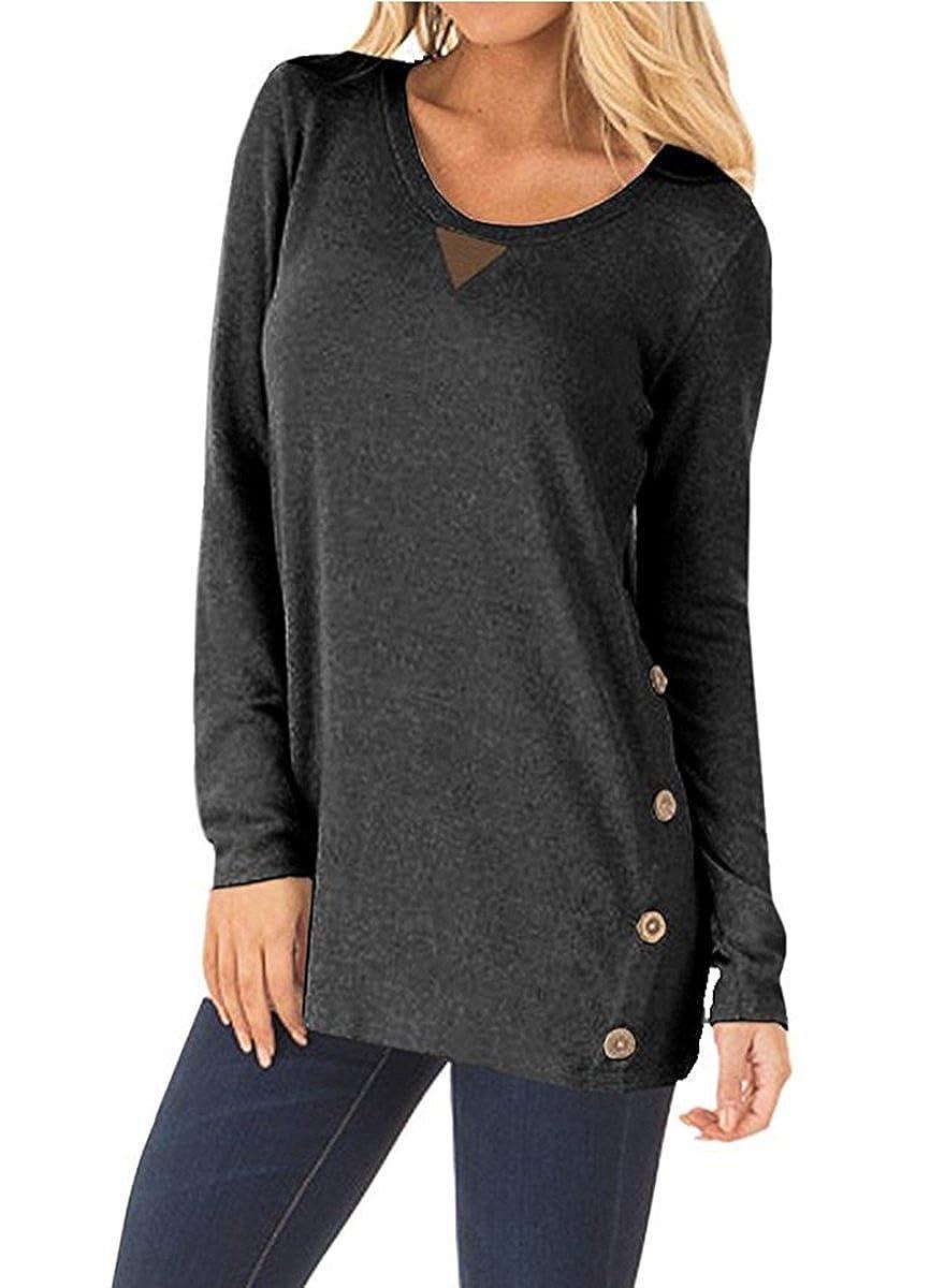 NICIAS Damen Seitliche Tasten Langarmshirt Pullover L/ässige Rundhals Sweatshirt Ellenbogen Gepatcht Hemd Lose T Shirt Blusen Tunika Top