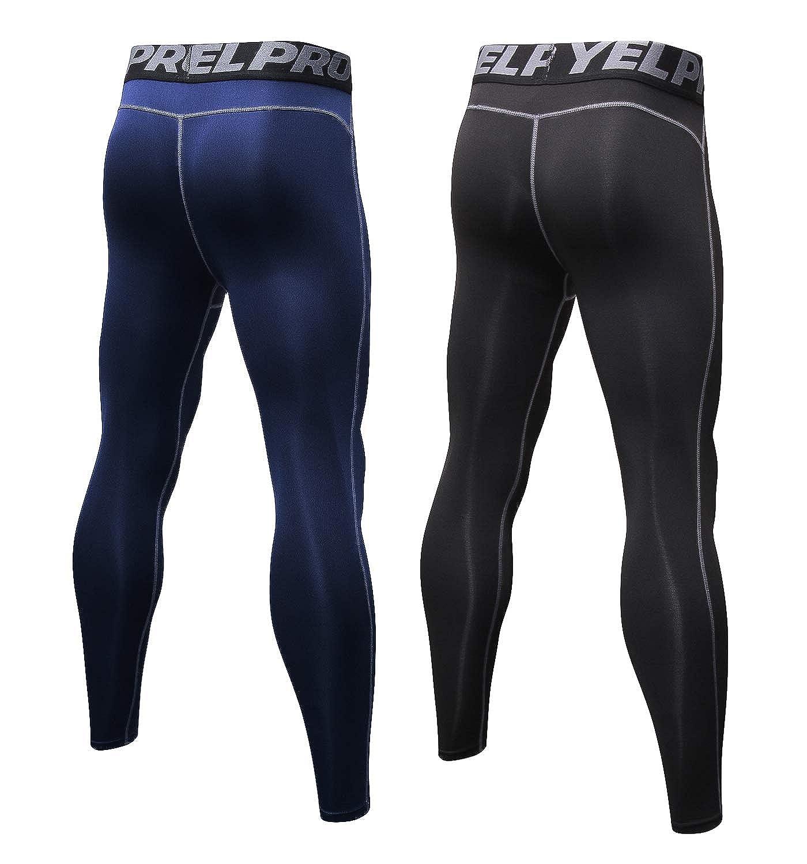 a245f7b58db60 Malavita Men's 2 Pack Compression Pants Sports Tights Leggings Base Layers  Workout Running Tights Leggings (Medium-Waist:27