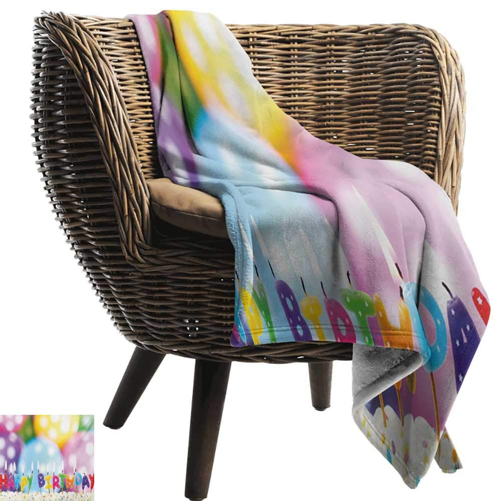 BelleAckerman Swaddle Blanket,Kids Birthday,Celebration Colorful Candles on Party Cake with Abstract Blurry Backdrop,Multicolor,Lightweight Extra Soft Skin Fabric,Not Allergic 50''x60'' by BelleAckerman