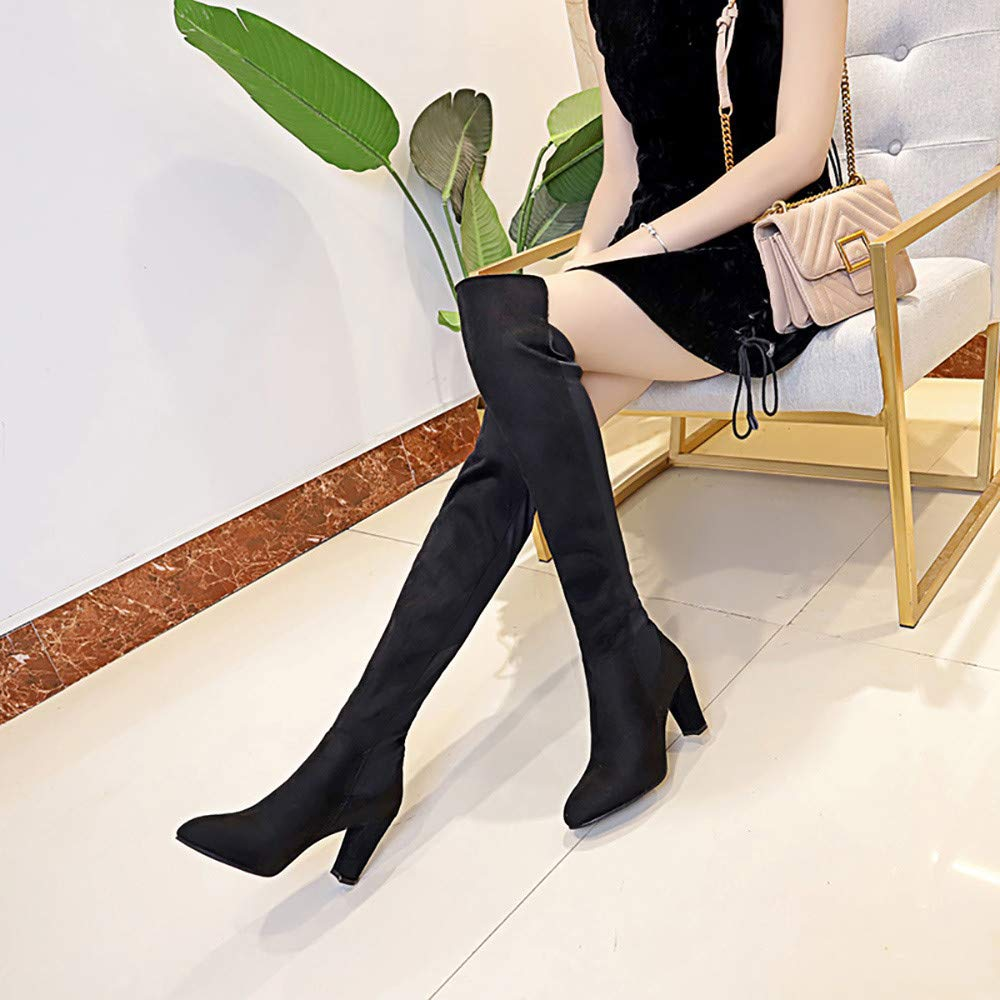 COPPEN Women Boots Leather Over Knee Toe Elastic Stretch Thick Heel Boots